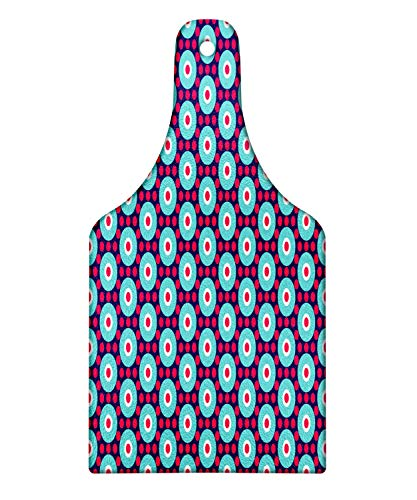 (Lunarable Abstract Cutting Board, Retro Breeze Pattern with Geometrical Shapes Circle and Rounds, Decorative Tempered Glass Cutting and Serving Board, Wine Bottle Shape, Indigo Seafoam Dark Pink White)