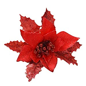 Hilai 1PC Glitter Artificial Flower Christmas Tree Flowers Wedding Decor Ornaments Poinsettia Prop 6.7inch (Red) 59