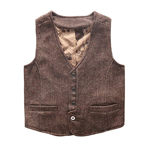 Coodebear Boys' Girls' Map Lined Buttons V Collar Vests Herringbone Brown Size 5T