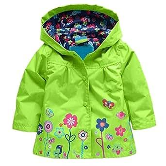 Zaclotre Baby Girl Kid Waterproof Floral Hooded Rain Jacket Outwear Raincoat with Hoodies Apple Green