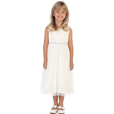 71016bb7ea Amazon.com: Angels Garment Little Girls Off-White Pin Dot Glitter ...
