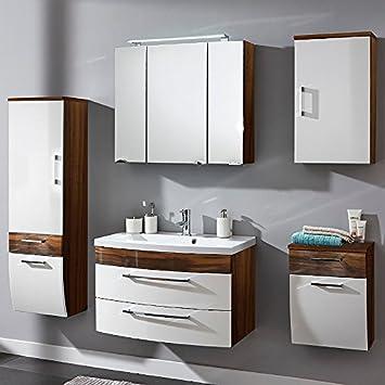 Badmöbel Set in Weiß Hochglanz & Walnuss ○ Badezimmer ...