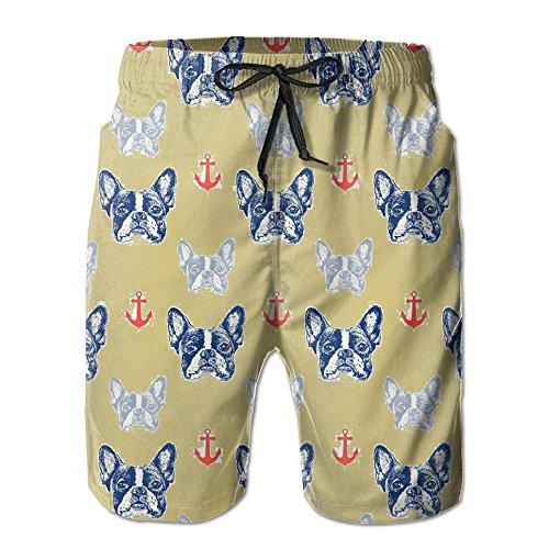 Bulldog Anchor Men's Printing Quick Dry Beach Board Shorts Swim Trunks L