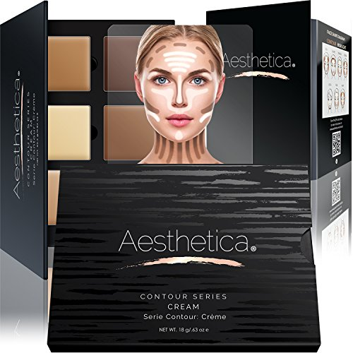 Aesthetica Cosmetics Cream Contour and Highlighting Makeup Kit - Contouring Foundation / Concealer Palette - Vegan, Cruelty Free & Hypoallergenic - Step-by-Step Instructions Included (Anastasia Makeup Kit)
