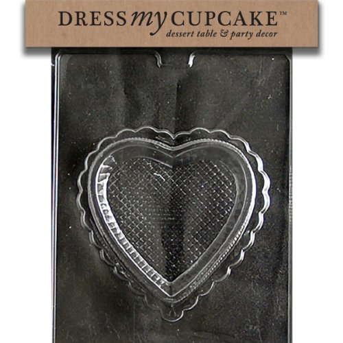 Dress My Cupcake DMCV149B Chocolate Candy Mold, Pretty Heart Pour Box Bottom, Valentine's Day (Bottom Box Chocolate Mold Pour)