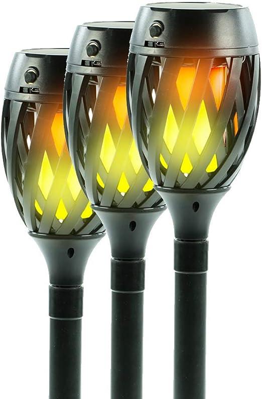 7even 3 x Lámparas solares LED Focos LED, Efecto de antorchas Llamas (Incluye Soporte de Pared y estaca | Densidad de Agua Solar antorcha | Hofmeister Decoración Jardín Terraza: Amazon.es: Juguetes y juegos