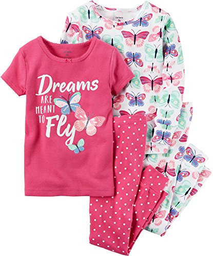 Carter's Girls' 12M-12 4 Piece Butterfly Dream Pajama Set 12 Months (Trunk Stretch Cotton Rib)