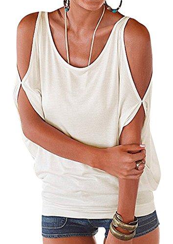 White Maglia Vdual Donna Elegante Corto Pipistrello Maglietta Casuale Senza Allentato Bluse Tops Maniche Pullover Spalline q65a5nwdBf