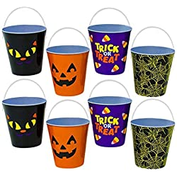 "Set of 8 Small 4"" Round Metal Halloween Pail W/Handle – 4 Different Designs (2) Spider Web,(2) Pumpkin,(2) Black Cat,(2) Candy Corn) (8)"