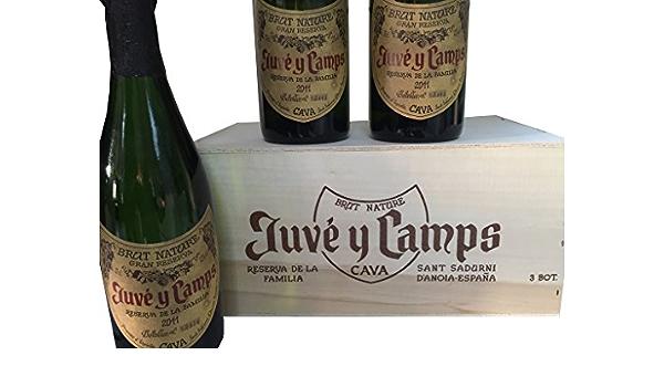Caja de madera sin asa de 3 botellas - Cava Juvé y Camps - Reserva de la familia Brut Nature: Amazon.es: Alimentación y bebidas