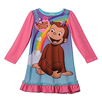 Amazon Com Curious George Long Sleeve Girls Nightgown