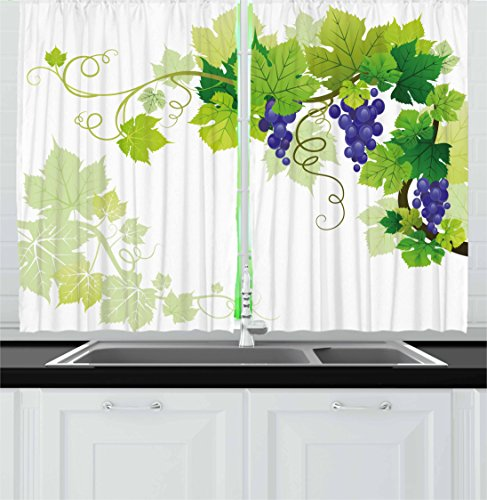 (Lunarable Vine Kitchen Curtains, Leaves of Grapes Nature Drawing Style Veins Fruits Good Food Healthy Options, Window Drapes 2 Panel Set for Kitchen Cafe, 55 W X 39 L Inches,)