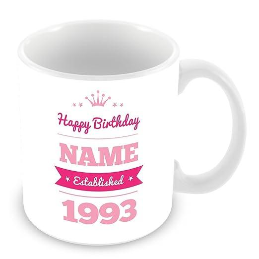 Feliz cumpleaños taza con nombre y año 1990 (25 años de edad ...