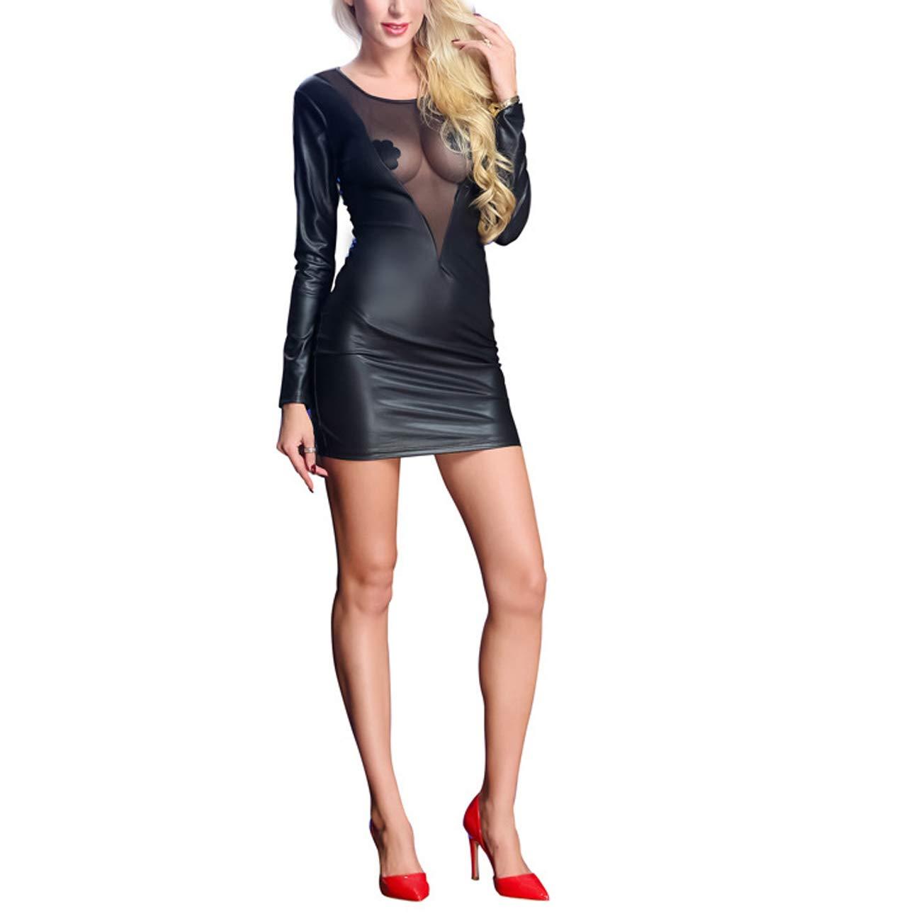 Tenxin Lencería Sexy, Mujeres De Cuero Se Ahuequen Ven Sexy Ahuequen Se El Vestido Clubwear Siamés Sexy Ropa Interior Sexy Moda Hermosa Lencería Adulta 1e145a