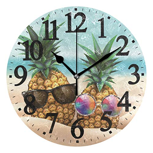 - WIHVE Round Wall Clock Beach Pineapple Home Art Decor Non-Ticking Numeral Clock for Home Office