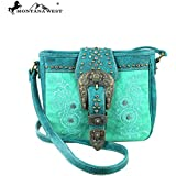 Montana West Buckle Collection Cross Body Messenger Purse Turquoise