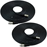 xlr cables 50 feet - GLS Audio 50ft Mic Cable Patch Cords - XLR Male to XLR Female Black Microphone Cables - 50' Balanced Mike Snake Cord - 2 PACK