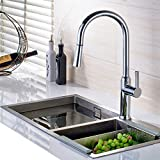 Fapully Kitchen Faucets Chrome Single Handle Swivel Spout Arc High Vessel Taps