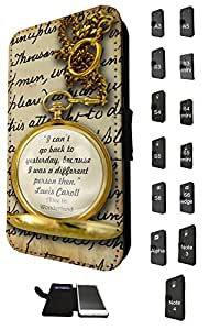 627 - Alice in Wonderland Quote I Can't go Back to Yesterday Because i was different person then Design Fashion Trend Credit Card Holder Purse Wallet Book Style Tpu Leather Flip Pouch Case Samsung Galaxy S6 Egde