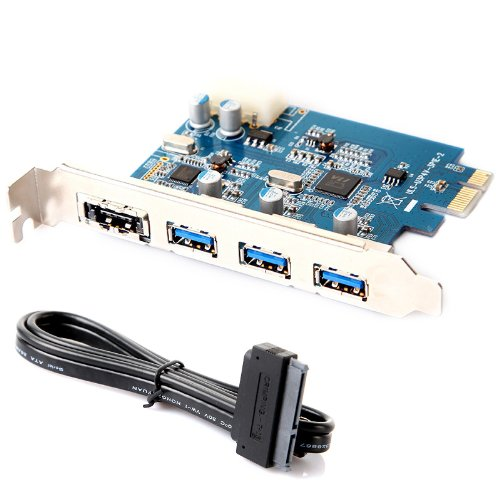 Kingzer USB 3.0 PCI-E PCI Express Card 4Port 4-pin IDE Power Connector ESATA III + Cable from KINGZER