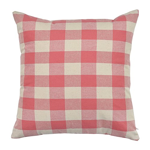 WFLOSUNVE Retro Farmhouse Buffalo Check Plaids Soft 100% Solid Cotton Decorative Throw Pillow Case Cushion Cover Pillowcase for Couch and Sofa 18 x 18 Inch (Beige and Pink) Checks Decorative Pillow