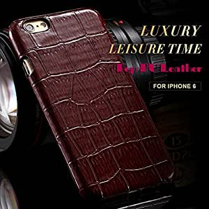 Cell Buddy Luxury Alligator Skin Women Men Case for iphone 6 4.7 Soft PU Leather Glossy Back Cover Retro Flexible Portable Elegant YXF04704 --- Color:Brown