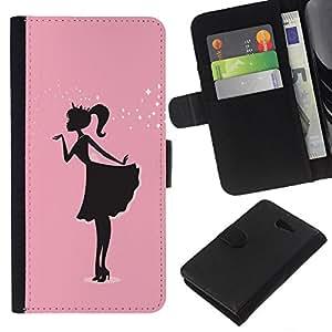 KLONGSHOP // Tirón de la caja Cartera de cuero con ranuras para tarjetas - Rosa Vestido Negro minimalista Sparkle - Sony Xperia M2 //
