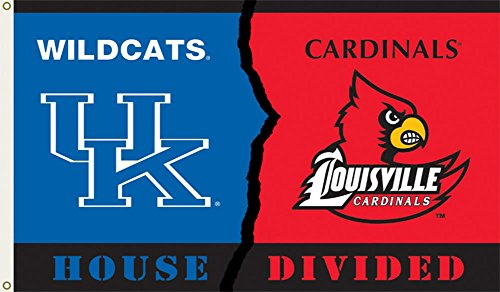 (NCAA Kentucky - Louisville Rivarly House Divided Flag with Grommets 60 x 36in)