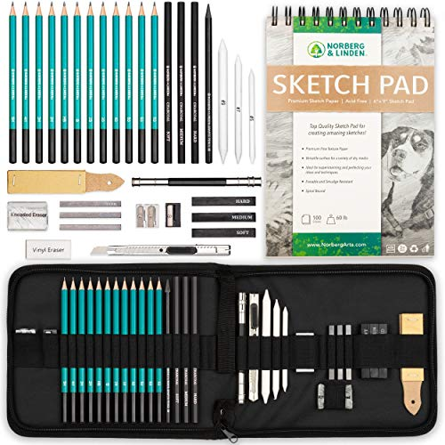 XL Drawing Set - Sketching, Graphite and Charcoal Pencils, 100 Page Drawing Pad, Kneaded Eraser, Blending Stump. Art Kit and Supplies for Kids, Teens and Adults.