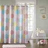 pink and yellow shower curtain - JLA Home INC Trixie Design Stripe Cotton Pink Shower Curtain, Geometric Casual Kid Shower Curtains for Bathroom, 72 X 72, Yellow/Peach