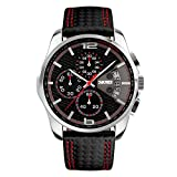 Skmei Men's Watches Built in Chronograph and Date with Black Leather Quartz Sports Casual Wrist Watch