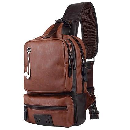 SPAHER Bolso Bandolera Hombre Mochila de Pecho Piel Cuero Bolsa Bolsos de Mochila Deportivo Bolsa Sling Crossbody Messenger Bag Daypack para Negocio ...