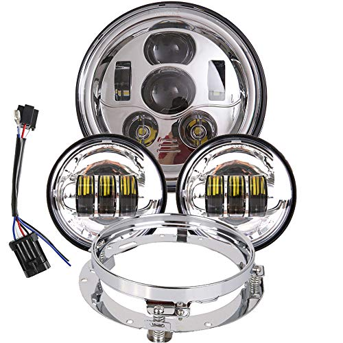 - 7 inch LED Headlight 4.5 Fog Passing Lights DOT Kit Set Ring Motorcycle Headlamp for Harley Davidson Touring Road King Ultra Classic Electra Street Glide Tri Cvo Heritage Softail Deluxe Fatboy Chrome