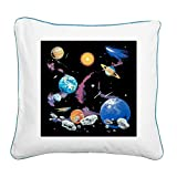 Square Canvas Throw Pillow Caribbean Blue Solar System And Asteroids