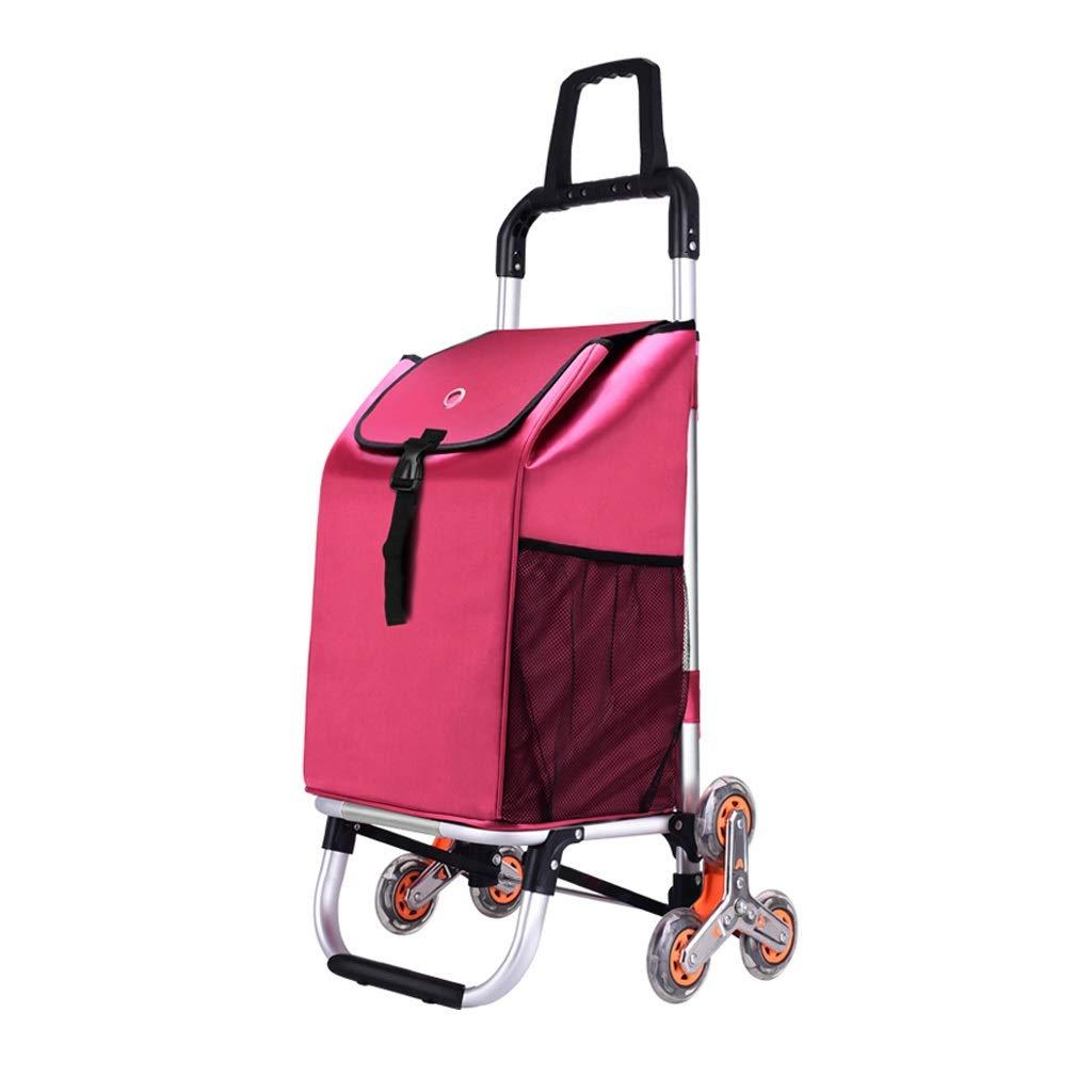 トロリードリー、ショッピングカート多機能食料品折りたたみ式ピクニックビーチ - 簡単に階段、4色 (色 : ローズレッド) B07QGS7FH1 ローズレッド