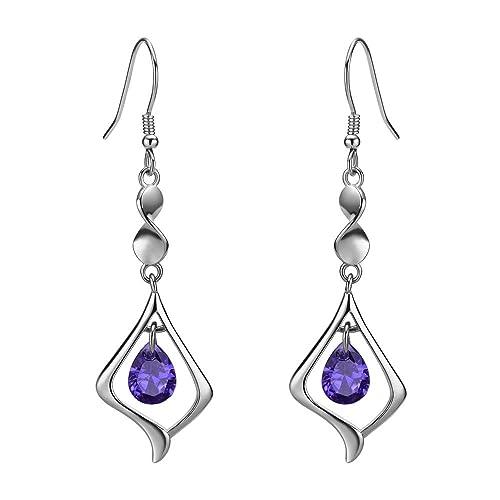 Un Par De Colgantes Purple /& Vidrio Blanco Perla Plateado pendientes.