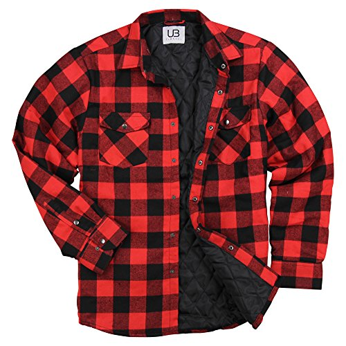 UB Apparel & Gear Men's Insulated Quilted Lined Flannel Shirt Jacket (Red/Black, (Red Flannel Jacket)