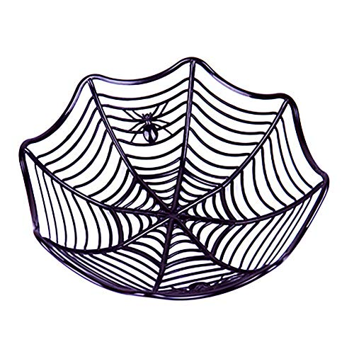 (2 Pieces Candy Fruits Plate Spider Web Plastic Bowl Basket for Halloween Kitchen Party Decor Decoration)