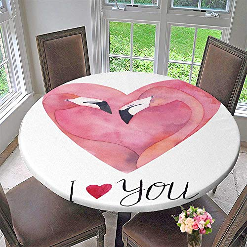 Round Polyester Tablecloth Table Cover Pink Flamo Couple in The Shape Heart withwritten i Love You for Most Home Decor 43.5