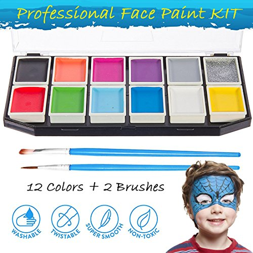 Face Painting Kit 12 Color Palette - SOWOKO Best Quality Ultimate Party Pack for Kids, Face Paint & Body Paint Art Make-up Set, Rich Pigment, Vibrant Water Based Painting Tool, (Faces To Paint On Pumpkins At Halloween)