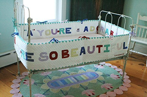 Designed by Judi Boisson. ''A'' You're Adorable'' ''B'' You're so Beautiful ! Colorful Letters on a White Background. Reversible. Cotton. by JUDI BOISSON
