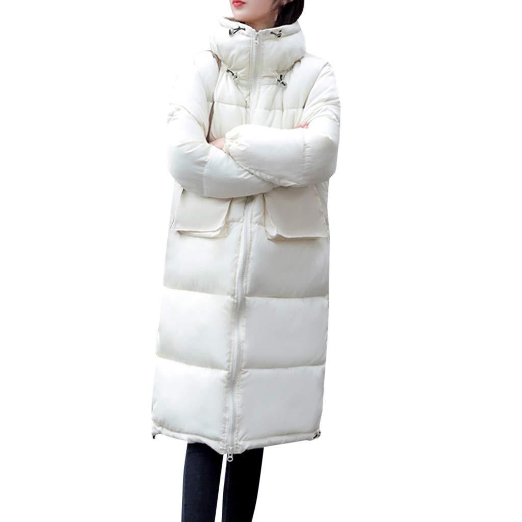 Dainzuy Down Jacket Women Cold Weather Winter Warm Parkas Coat Solid Zipper Cotton Padded Thicken Outerwear Overcoat White by Dainzuy Womens Outerwear