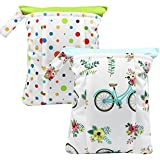 Asenappy leakproof 2 PCS Wet Bags Double Pocket for Cloth Diapers