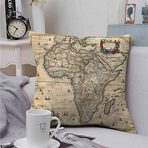 Fbdace Cushion Cases Throw Pillowcases Antique Old Map of Africa Continent Velvet Soft Soild Decorative 18 X 18 Inch