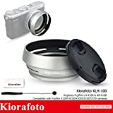 x100 hood - Kiorafoto Silver Lens Hood Shade with 49mm Filter Adapter Ring for Fujifilm X100F X100T X100S X100 X70 Replaces Fuji LH-X100 AR-X100