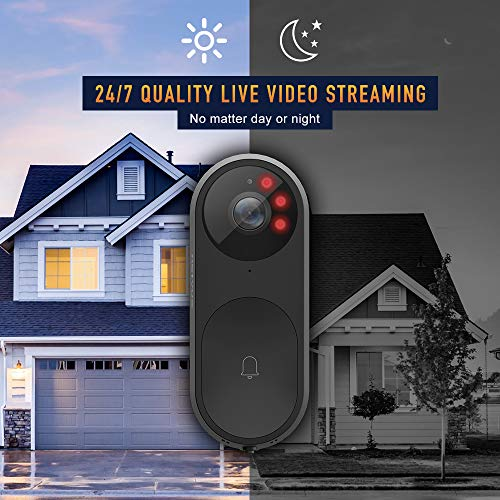 NETVUE Video Doorbell, A.I. Wifi HD Camera Doorbell with Facial Recognition, Voice Interaction, Night Vision, Motion Detection, Wireless Doorbell, Push Notification and Compatible with Alexa Echo Show by NETVUE (Image #1)