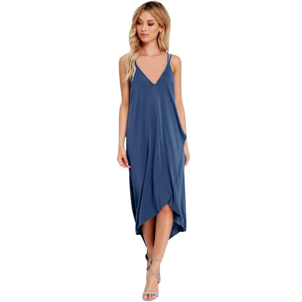 Casual Stripe Long Beach Tank Asymmetrical Dress Sleeveless Party Shirt Sundress Hengshikeji Women Summer Dresses