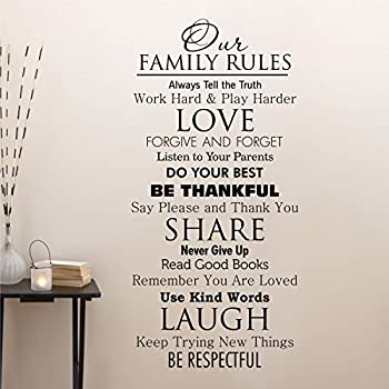 Ditooms Family Quotes Wall Decal Our Family House Rules Home Love Do Your  Best Wall Art