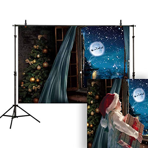 (Allenjoy 7x5ft Christmas Backdrop Window Snow Scene Night City Moon Santa Sleigh Family Party Photography Background Decorations Banner Props for Photo)
