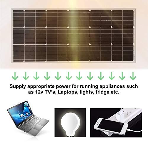 Peppydazi Moncrystalline Solar Panel Module 100W Boat Car Solar Battery Charger